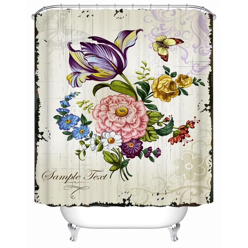 Salle De Bain Minerale ~ Vintage Fran Ais Fleur Rideau De Douche Pour La Salle De Bains 3d