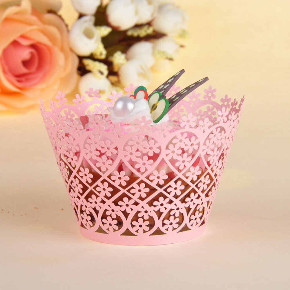 120pcs/lot Little Vine Filigree Laser Cut Lace Cupcake Wrapper Wraps ...