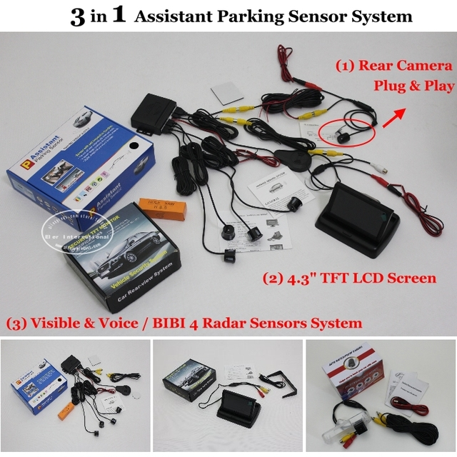 "For Hyundai EF Sonata 1998~2006 - Car Parking Sensors + Rear View Camera + 4.3"" LCD Screen = 3 in 1 Visual Alarm Parking System"