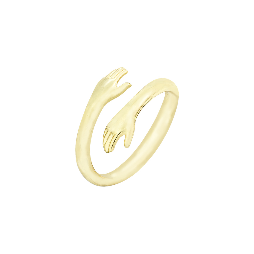 Медные Подвески, три цвета, ручное Обнимание, дизайн, Открытое кольцо для женщин, свадебные кольца для девочек, ювелирные изделия на палец