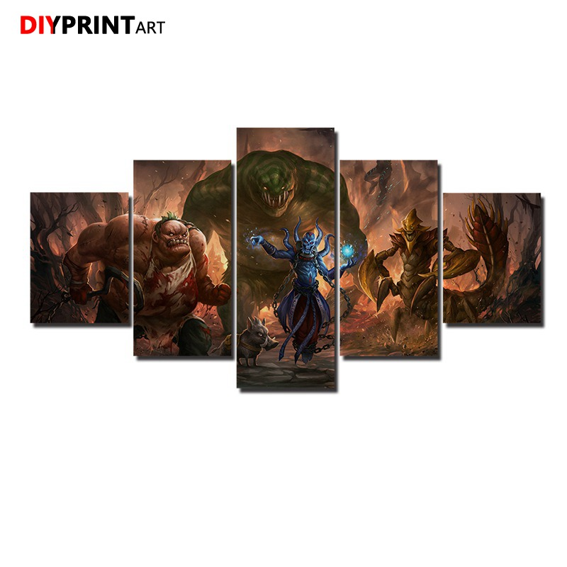 DOTA 2 Leviathan 5 Panels Game Characters Canvas Art Wall Pictures for Living Room A1034