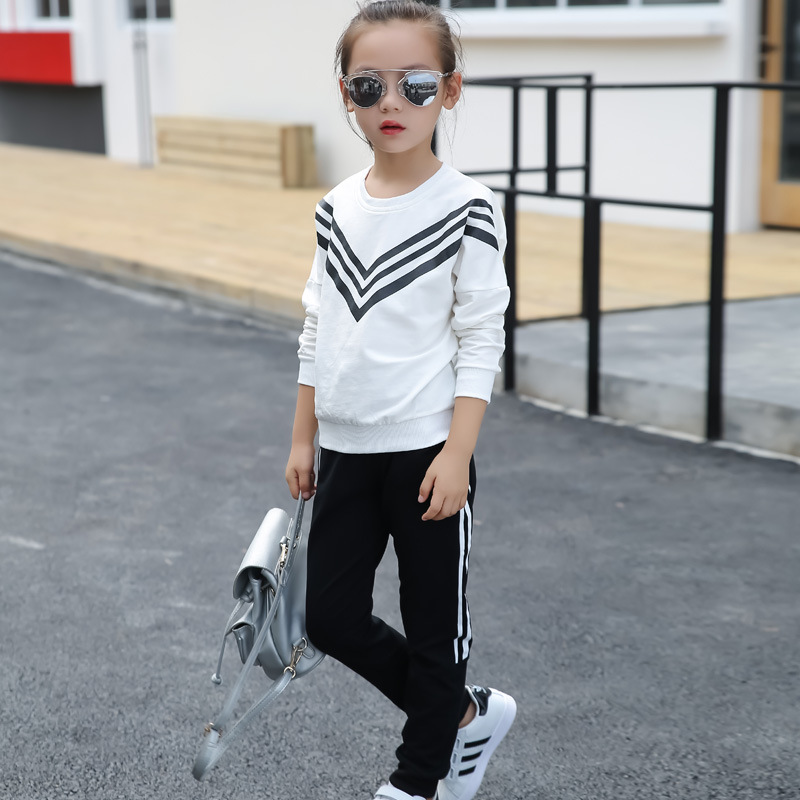 Autumn girl Striped 2pcs/set Kids Cotton Long Sleeve School Tracksuit Uniform Sport Suit Sweatshirt+Pants 4 6 8 10 12 14 16 year