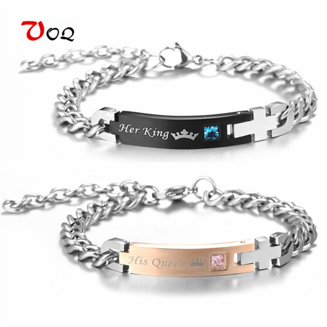 d64782dc52 His Queen Her King Couple Bracelet with Crystal Stainless Steel Bracelets  For Women Men Jewelry Unique Gift for Lover