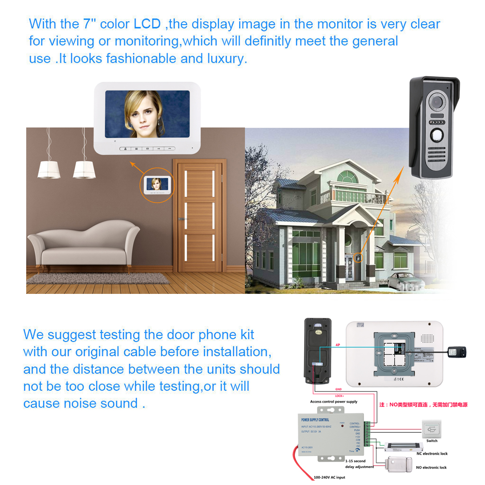 Vision Vídeo Porta Telefone Campainha Intercom com Câmera HD 700TVL