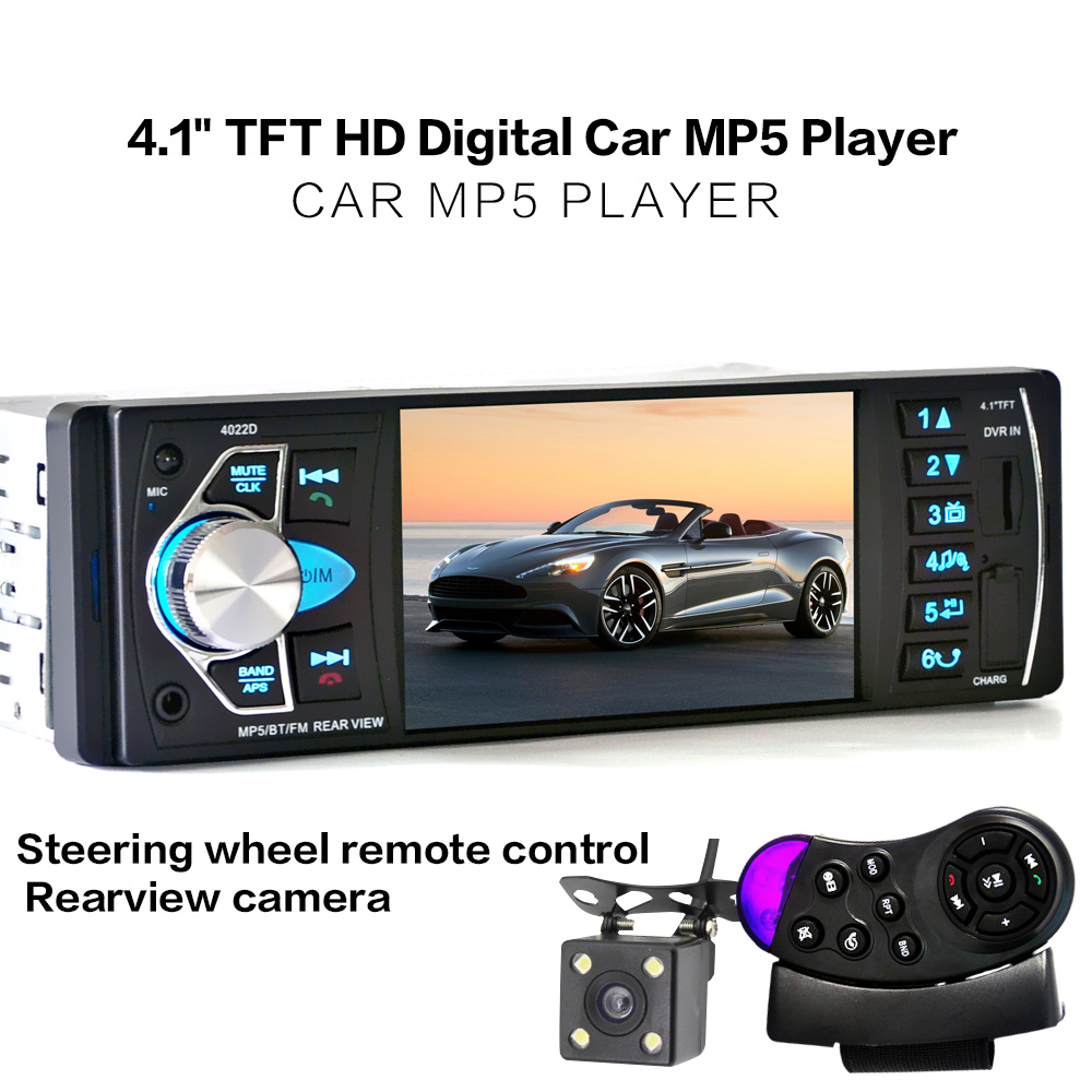 4.1 Inch 1 Din HD Bluetooth Car Stereo Radio Auto MP3 MP5 Audio Player Support USB FM TF AUX + Backup Reverse Rearview Camera 12v 4 1 inch hd bluetooth car fm radio stereo mp3 mp5 lcd player steering wheel remote support usb tf card reader hands free