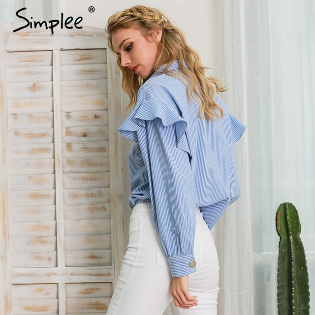 Simplee long sleeve blouse shirt women tops blusas Casual blue striped shirt feminine blouses 2017 Ruffle blouse chemise femme