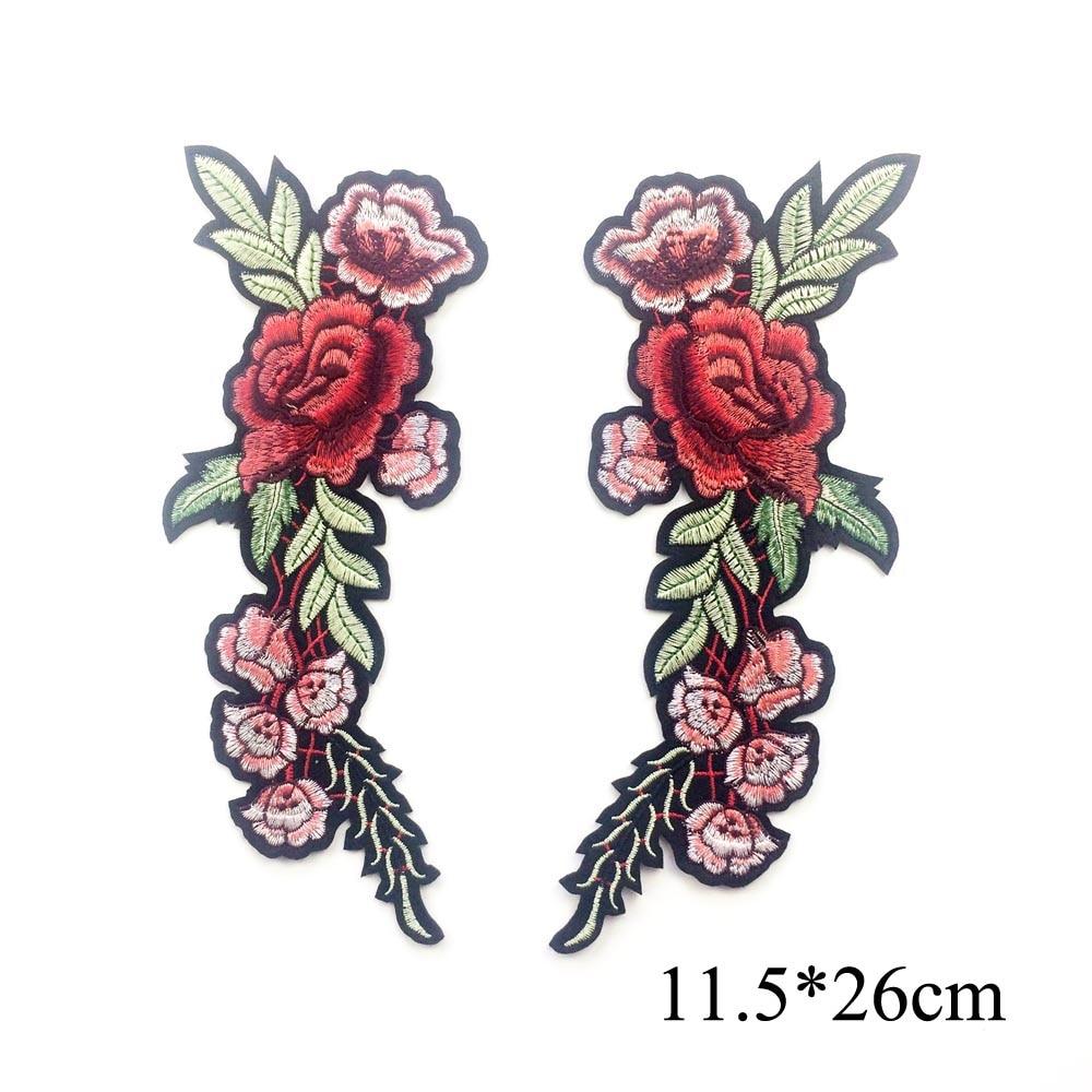 1 par bordado flor de rosa parche de hierro en los parches para la - Artes, artesanía y costura