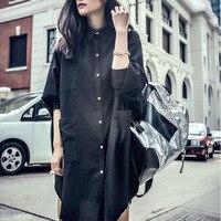 2017新しいファッション女性のbf熱い販売春トップスバットウィングスリーブ黒カラーロングデザインシャツ