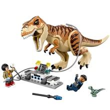 2018 New legoing 75933 638pcs Jurassic World The Tyrannosaurus Rex Transport Model Building Block Toys For Children CGP19 legoing jurassic world series t rex transport model building block brick toy for children birthday gift compatible 75933
