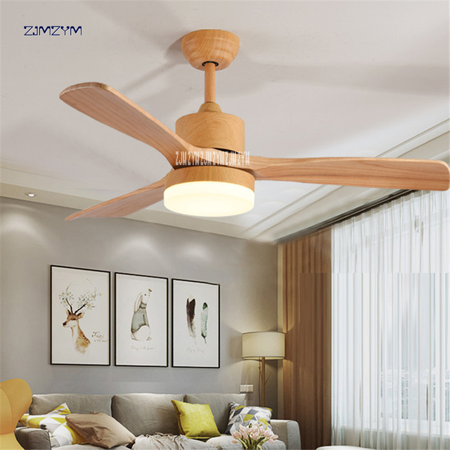 48 Inch Nordic Wood Ceiling Fan Lights With Remote Control 220volt Bedroom Light Lamp