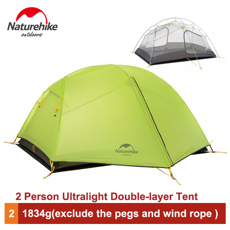 Naturehike 2 Person Outdoor Double-layer Tent Ultralight Camping Waterproof 3 Season Tent NH17T006-L naturehike 3 person camping tent 20d 210t fabric waterproof double layer one bedroom 3 season aluminum rod outdoor camp tent
