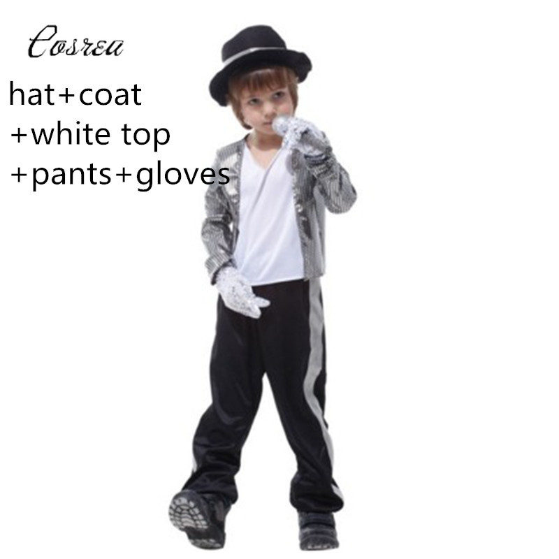Michael Jackson Clothes Suit for Boy Performance Cosplay Costumes Michael Jackson T Shirt Hat Jacket Pants Glove Clothing Sets