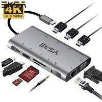 EKSA USB HUB 10 in 1 Thunderbolt 3 Type C Adapter Dock 3 USB 3.0 Port 4K HDMI 1080P VGA RJ45 Gigabit Ethernet For Macbook Pro