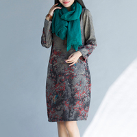 Top Kwaliteit 2017 Herfst Mode Nieuwe Bohemian Plus Size Vrouwen Merk Kleding Losse Casual Vintage bloemen Print Lange Mouwen Jurk