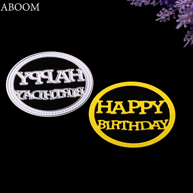 aboom 1pc oval happy birthday letter metal die cut embossing stencil carbon steel silver cutting dies