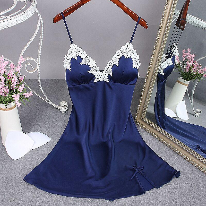 Fashion Navy Blue New Summer Womens Night Robe Bath Gown Faux Silk Nightgown Sleepwear N ...