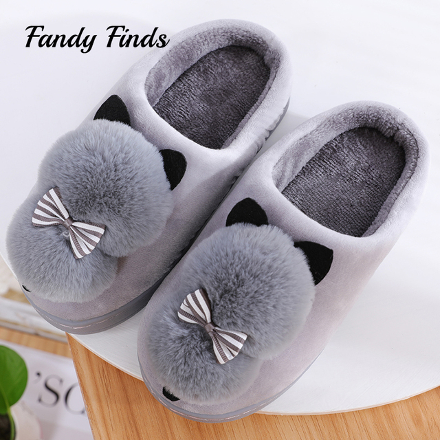 0a9b9c6577c Fandy-Finds-Ladies-Cartoon-Cat-Faux-Fur-Pom-Poms-Striped-Bowknot-Non-Slip- Flat-Soft-Sole.jpg 640x640.jpg