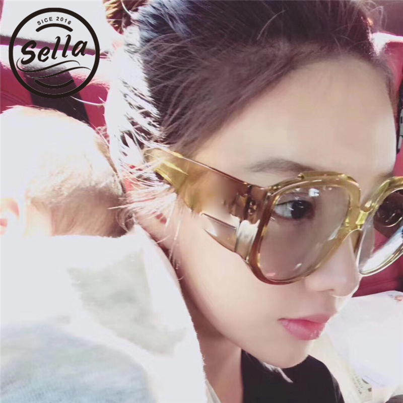 Sella 2018 New Arrival Fashion Women Oversized Cateye Sunglasses Luxury Brand Designer Candy Color Transparent Frame Sun Glasses