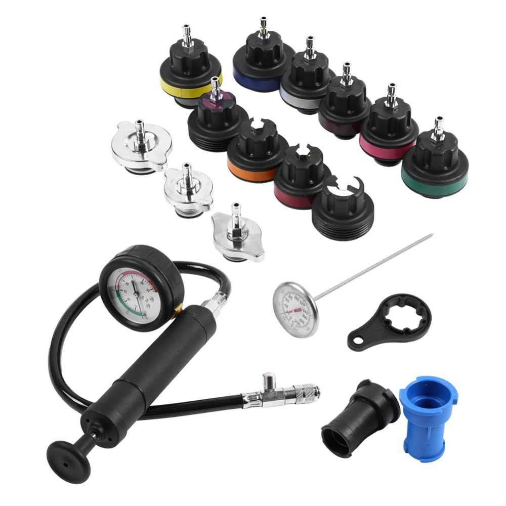 18pcs Water Tank Leak Detector Car Cooling System Tester Kit with Pressure Testing Hand Pump with Gauge for Car Professional