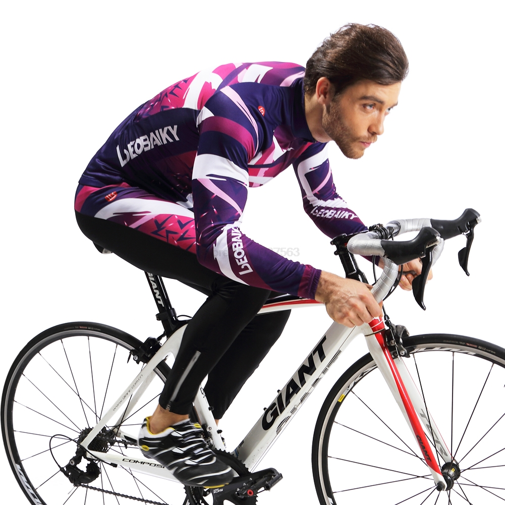 LEOBAIKY Pro Long Sleeve Cycling Jersey Sets Breathable 3D Padded Sportswear Mountain Bicycle Bike Apparel Cycling Clothing 2017 arsuxeo mens cycling bike bicycle long sleeves jersey shirts pants wear suits uniforms top 3d bib padded c