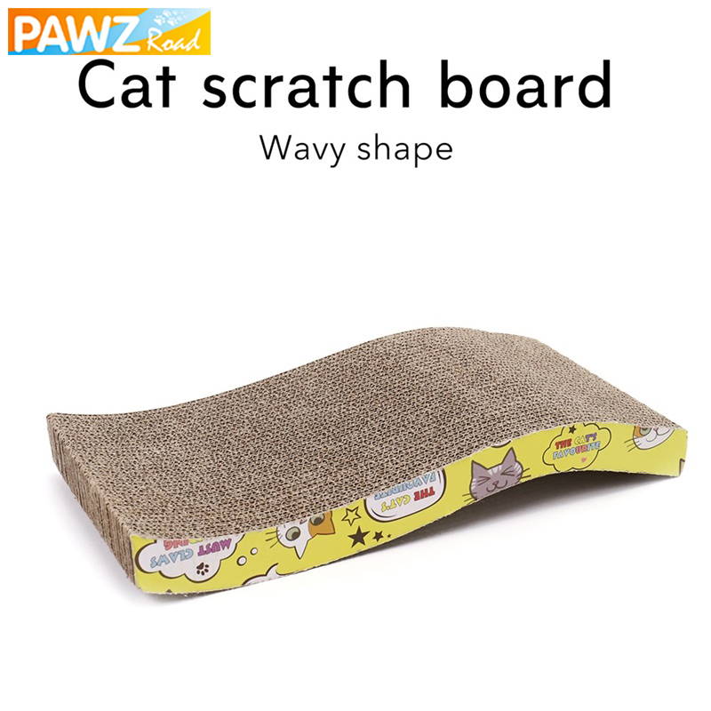 PAWZRoad Cat Toy Kitten Scratching Board Pad Wavy Shape Interactive Toys For Cat Training Corrugated Paper Durable Catnip Lounge