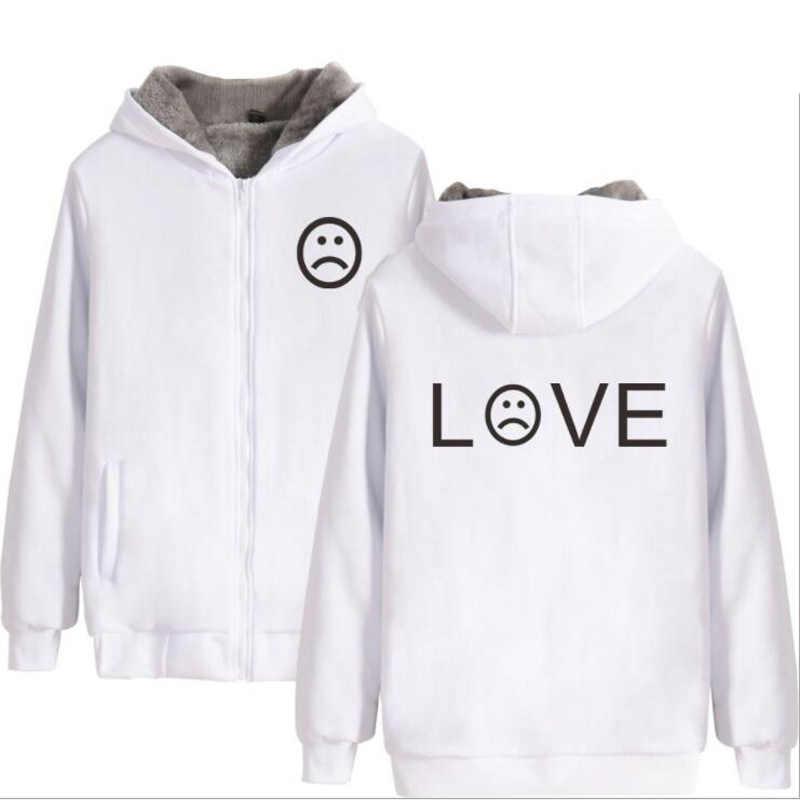 2018 большой размер зимняя куртка мужская Lil Peep Rapper хип хоп утолщенная толстовка на молнии с капюшоном верхняя одежда теплое пальто Tumblr одежда 4XL