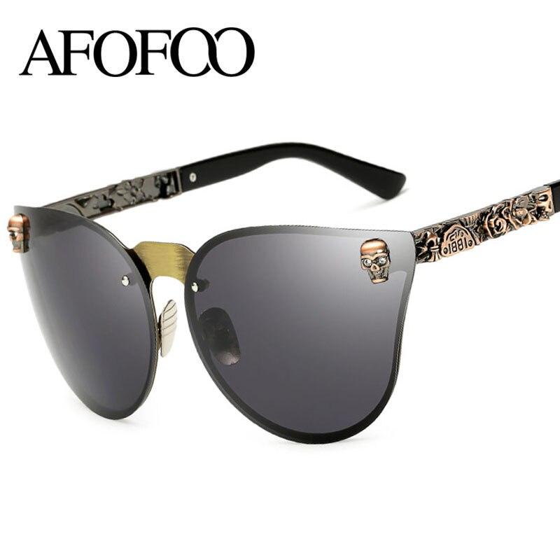 AFOFOO Mode Frauen Sonnenbrille Luxury Brand Designer Schädel Rahmen ...