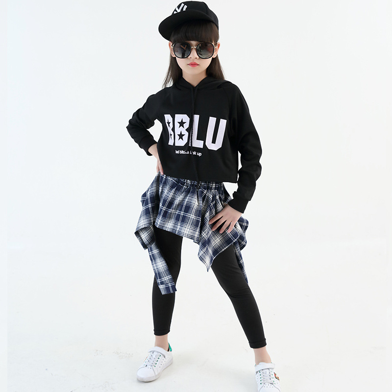 Autumn and spring new youth girls Cool Dancing Costume sets girls hip-hop hip-hop performance suits leisure sports suits 4~18Y