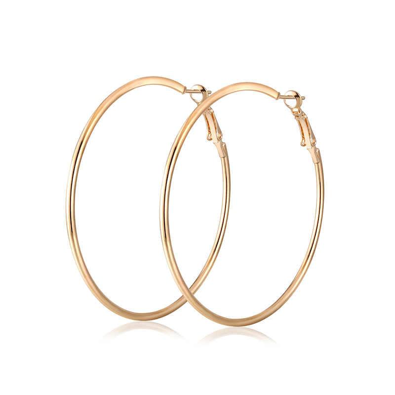 Trendy Hoop Earrings Big Smooth Circle Earrings Brand Loop Hyperbole Earrings for Women Jewelry Accessories Gifts