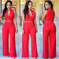 Maclover Free Shipping Belted Wide Leg Jumpsuit Plus Size Elegant Jumpsuits 7 Colors Fashion Big Women Sleeveless Maxi Overalls