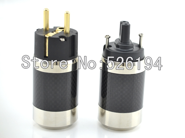 Free shipping Figure 8 Gold Plated Carbon fiber EU Schuko power plug for audio cable free shipping one pair style 24k gold plated eu schuko