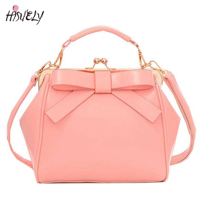 Hisuely Hot Candy Color Women Pu Leather Bow Handbags Shoulder Bags Fashion Bag Female