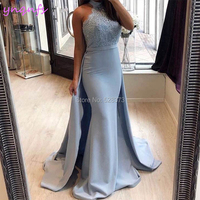 YNQNFS ED236 Baby Blue Satin Halter Elegant Simple Lace Bridesmaid Dresses Mermaid Saudi Arab Abiye Formal Gown Robe 2019
