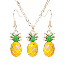 Woman Yellow Oil Drip Pineapple Jewelry Sets Party jewelry Necklace Pendant Earrings set Free Gifts(China)