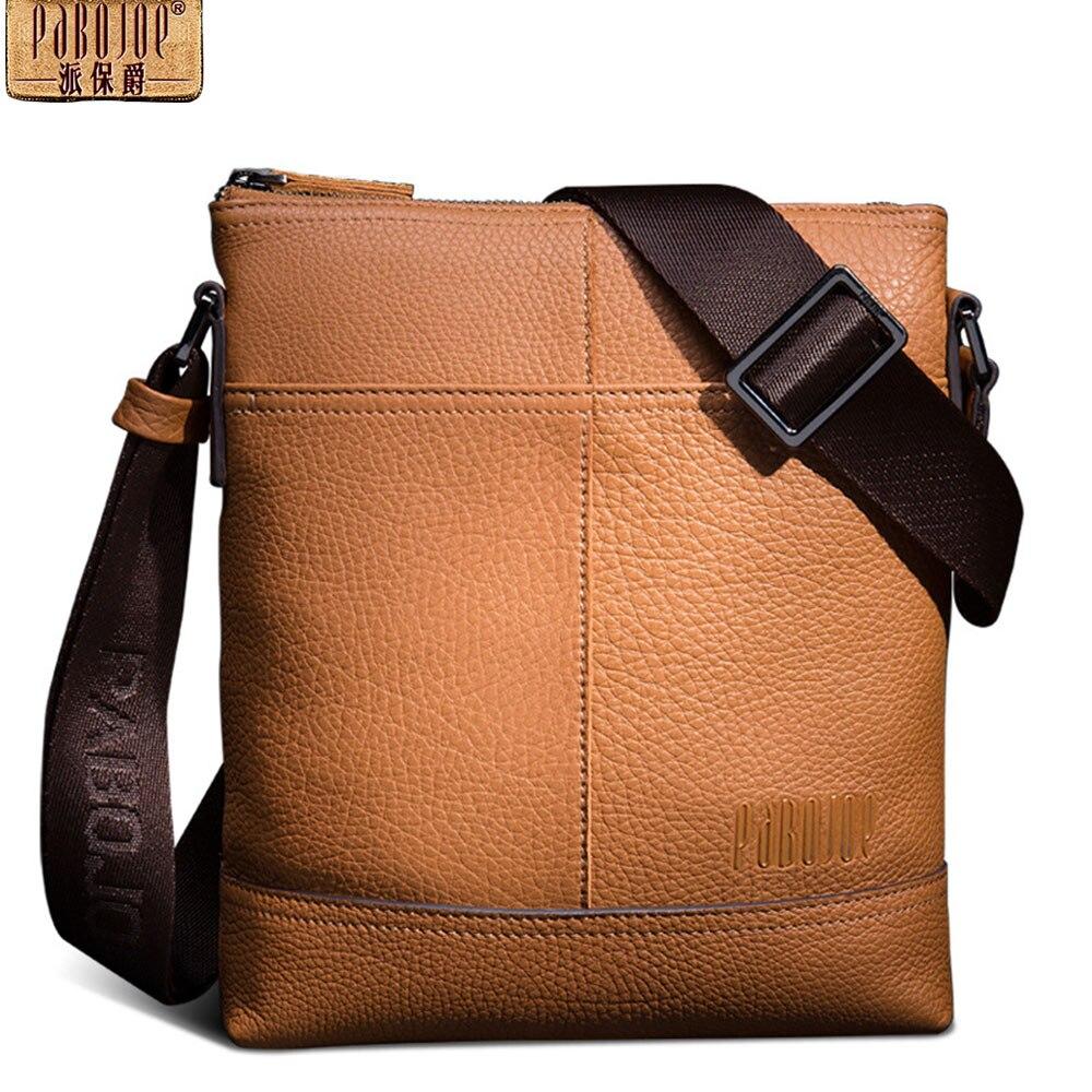 Pabojoe Men Leather Bag Single Casual Messenger Bags Luxury Genuine Handbag Men Shoulder Bag pabojoe duffle bags 100