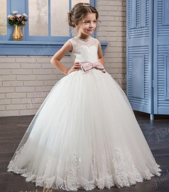 2017 Cheap Ivory Flower Girl Dress Sash Bow ball gown Girl Birthday Party Dress Tulle girls Pageant Dress communion dress FD273