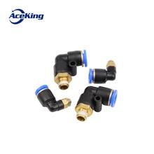 Купить с кэшбэком V-type high pressure pneumatic pipe external thread elbow quick air compressor quick connector PL4 8 10 12 14 16-m5-01-02-03-04
