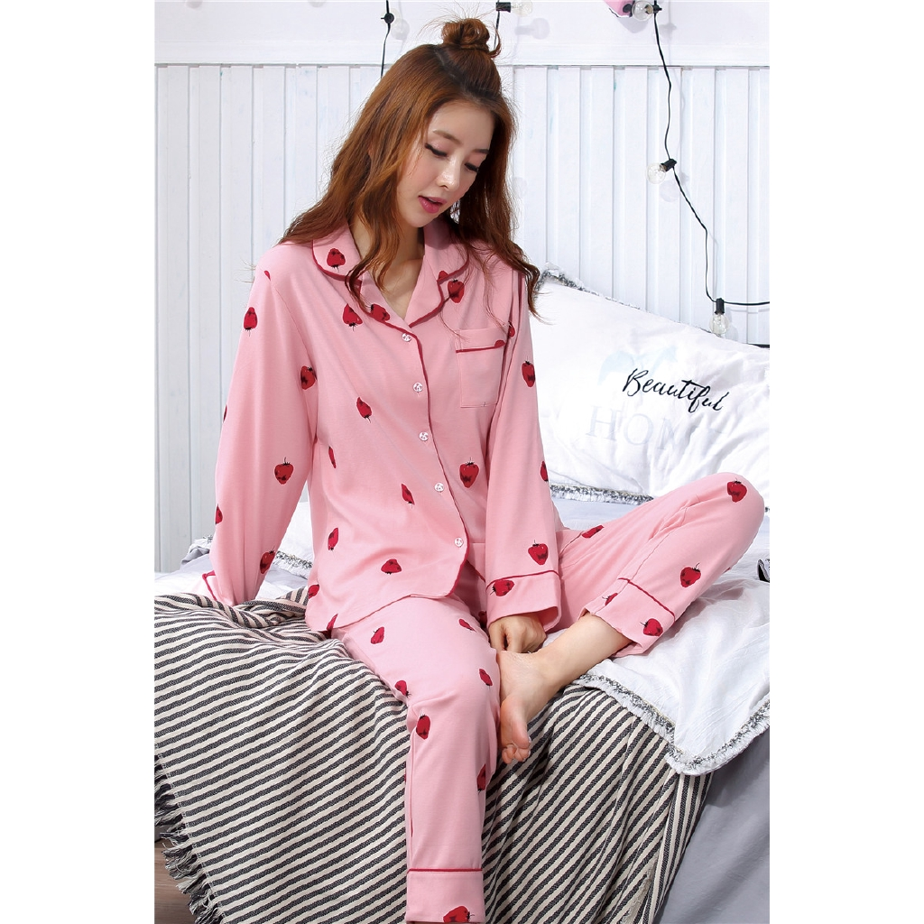 d14a7b5af Women Clothes New Pajamas Female Suits Leisure Comfortable Strawberry Print  Girl Night Suit Sleepwear-in Pajama Sets from Underwear   Sleepwears on ...
