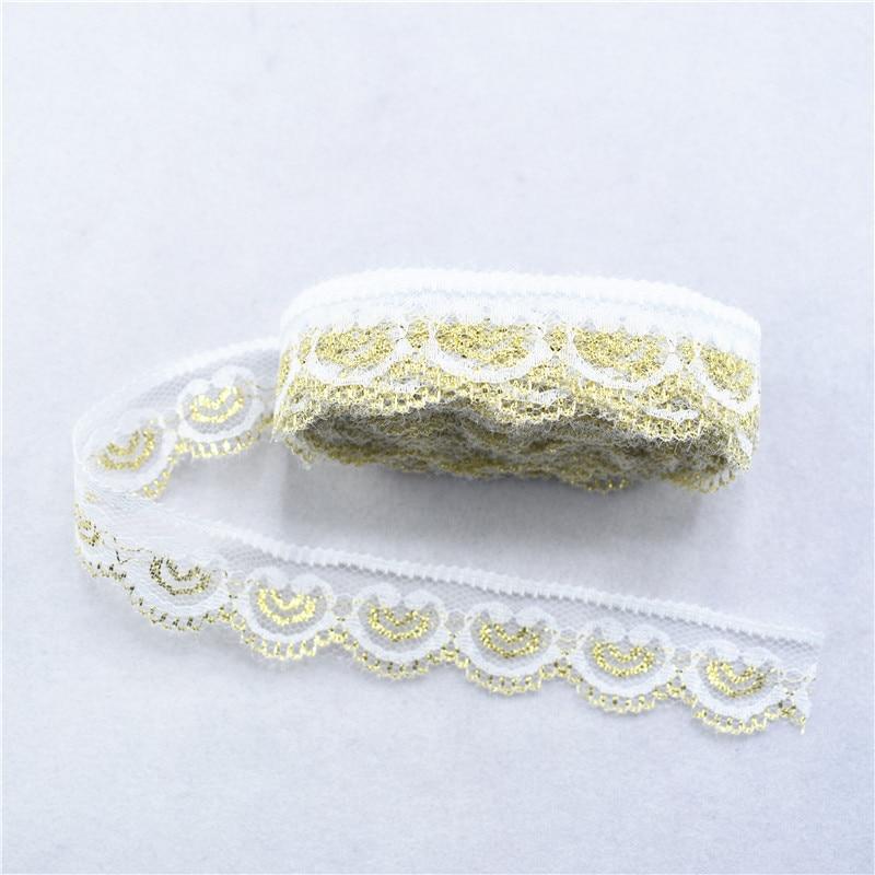 Красивые 10 ярдов кружевная лента 22 мм Широкий яркий золотой белый кружева кружевное шитье DIY Вышивка Одежда Свадебные украшения вечерние