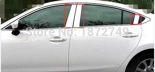 2013 2014 2015 pour Mazda 6 Atenza fenêtre extérieure moyen pilier poteaux couverture garniture en acier 6 pièces