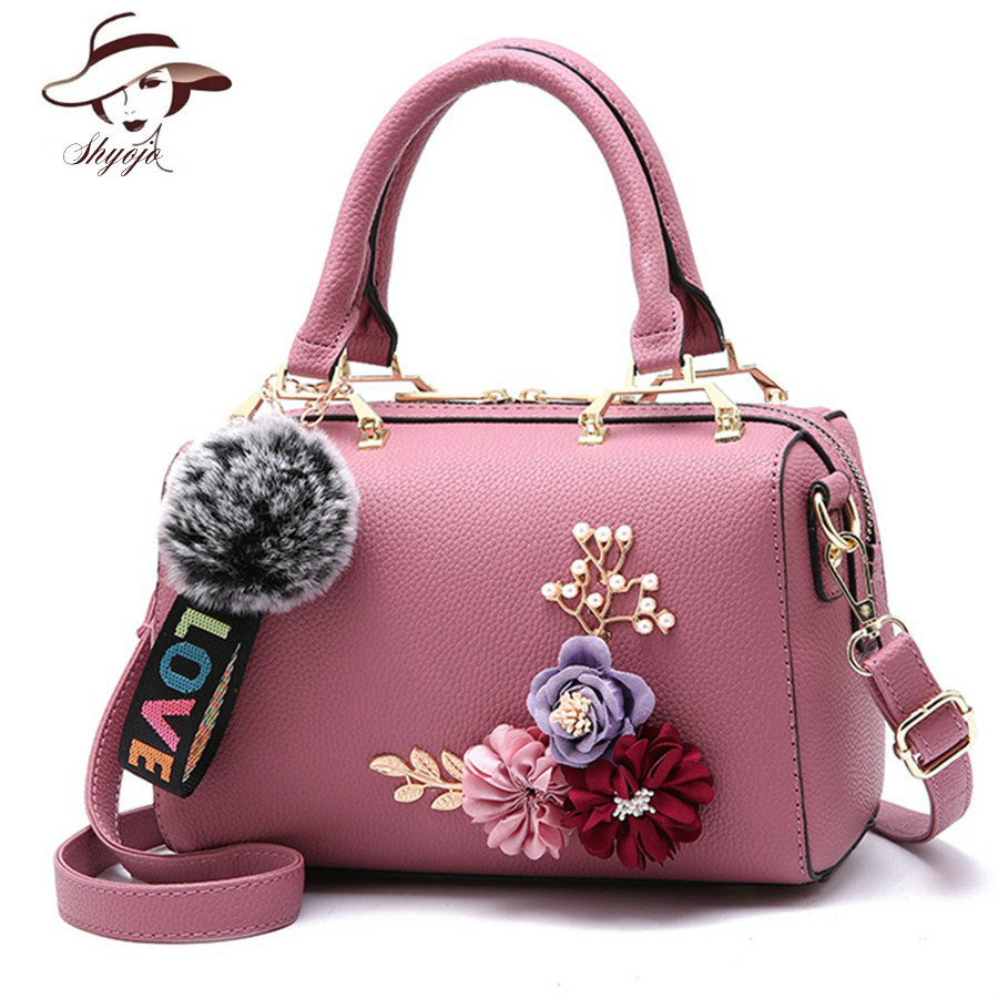2018 Color Flower Pillow Women's PU Leather Clutch Bag Ladies Handbags Brand Women Messenger Tote Shoulder Bags Sac A Main Femme