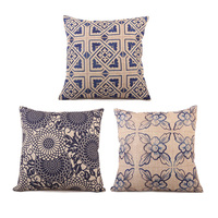 High Quality Blue And White Porcelain Chinese Traditional Style Linen Cotton Square Cushion Cover For Sofa