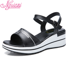 цена на 2019 Women Leather High Heels Sandals Platforms Shoes Split Leather Ankle Strap Casual Female Summer Wedges Sandals Nysiani