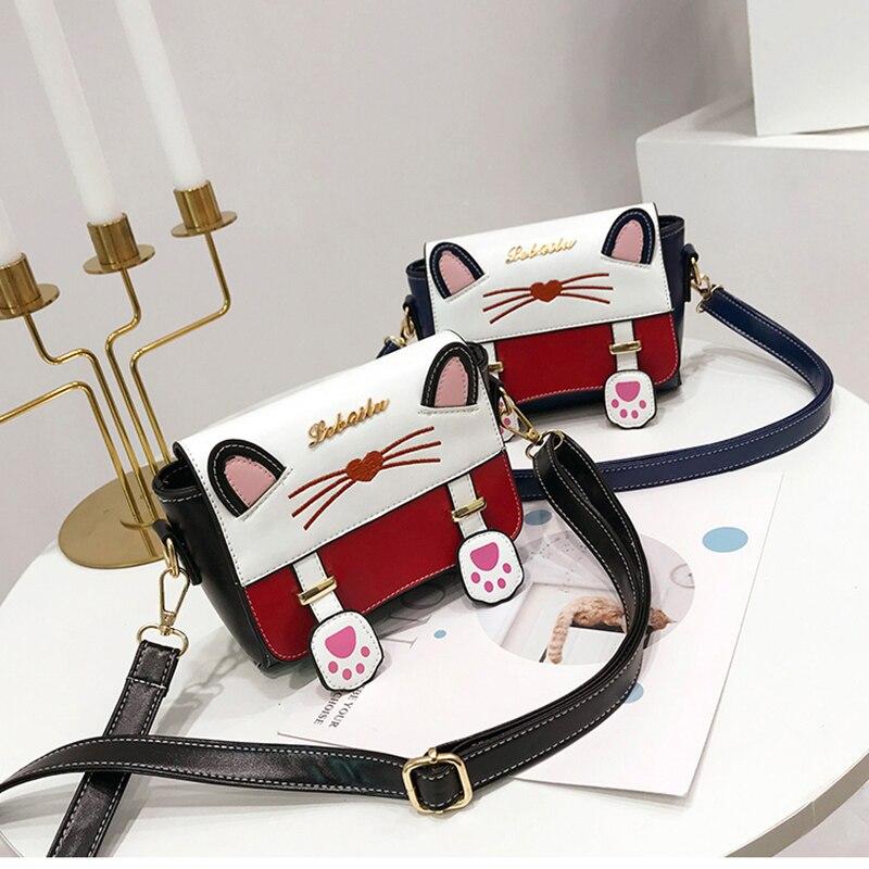 Japanaese Style Sweet Messages Bag Lovely Cat Handbag Girl Lady Pink Flap Bag Shoulder Bag