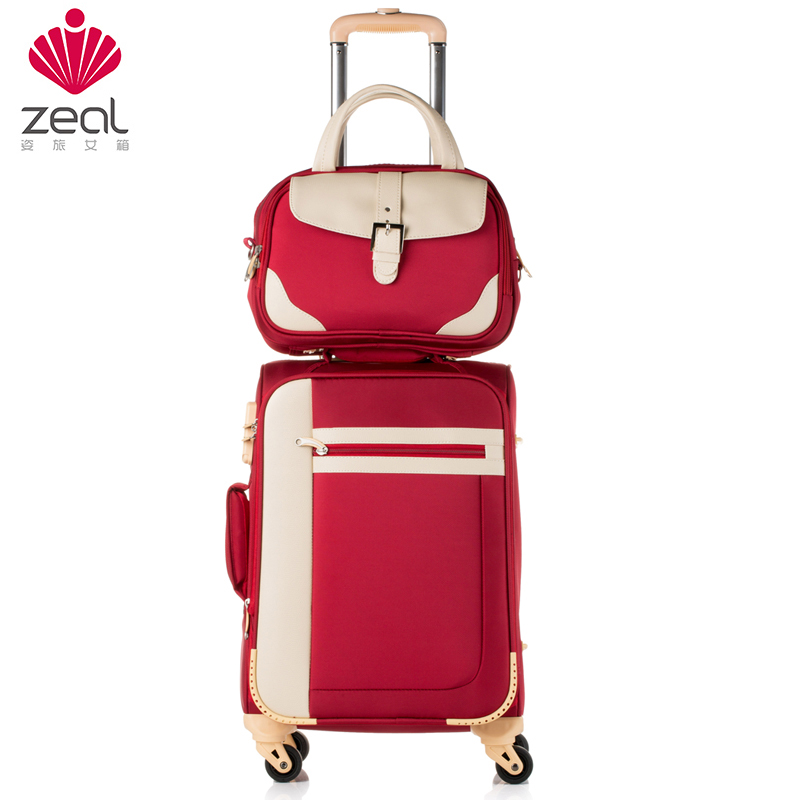 Zeal luggage universal wheels picture box13 20 24oxford fabric travel bag soft box suitcase female trolley luggage sets