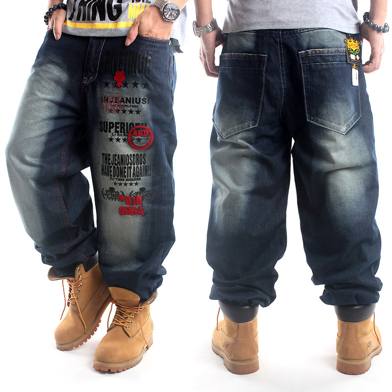 2019 Full Length Pattern Printed Loose Hip Hop Jeans Men European American Brand Hip-hop Trend Denim Pants Plus Size