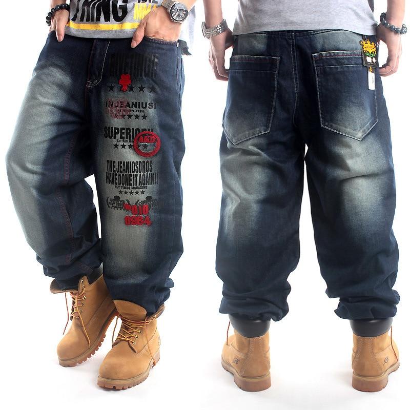 99bbde44f0b 2019 Full Length Pattern Printed Loose Hip Hop Jeans Men European American  Brand Hip-hop Trend Denim Pants Plus Size
