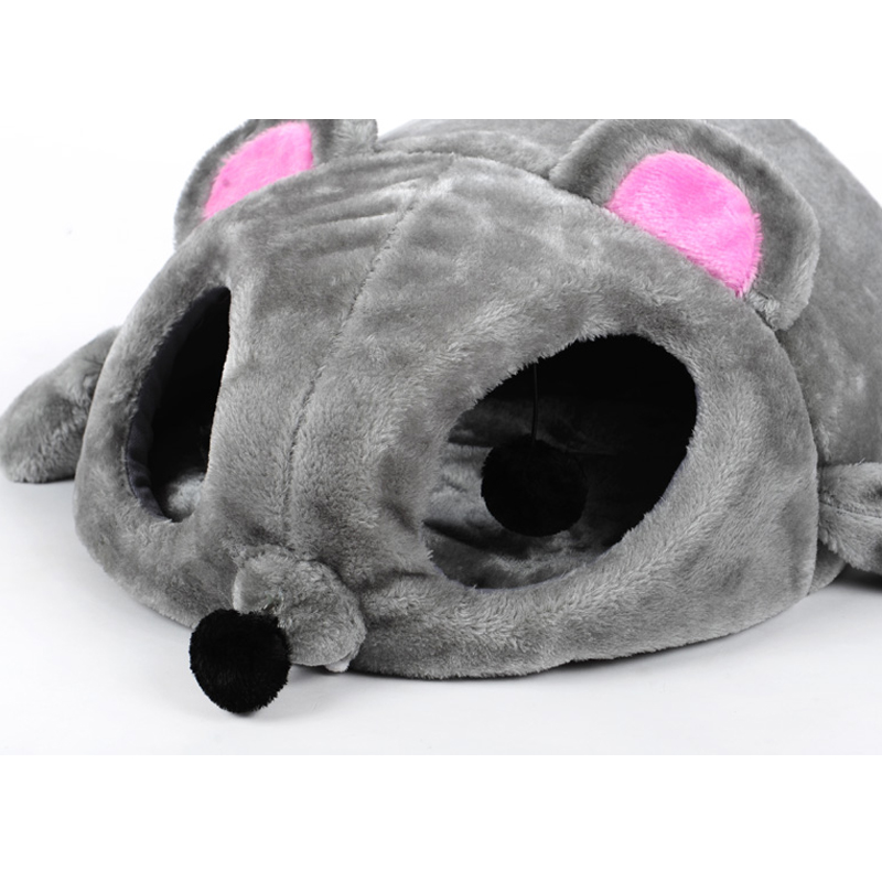 grey mouse shape bed for small cats dogs cave bed removable bottom cat house mouse