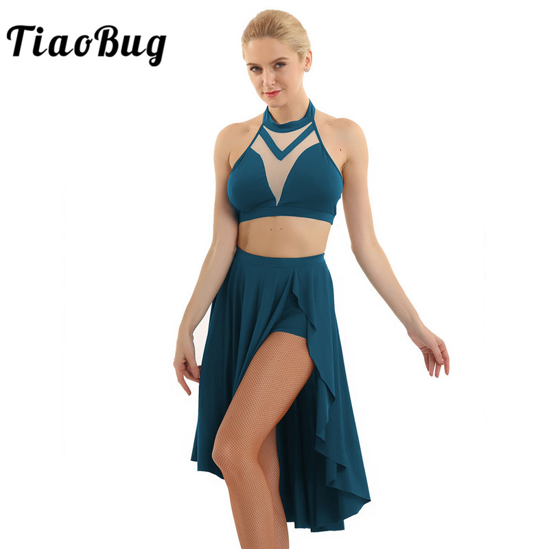 TiaoBug Women Halter Sleeveless Backless Dancing Crop Tops Latin Ballroom Ballet Skirt Set Asymmetrical Lyrical Dance Costumes