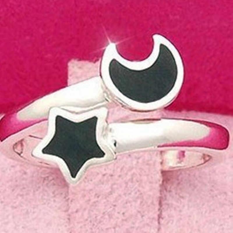 رائعة الفضة اللون فتح خواتم جميلة الأسود القمر و ستار خواتم افتتاح حزب خاتم المرأة مجوهرات هدية الجملة